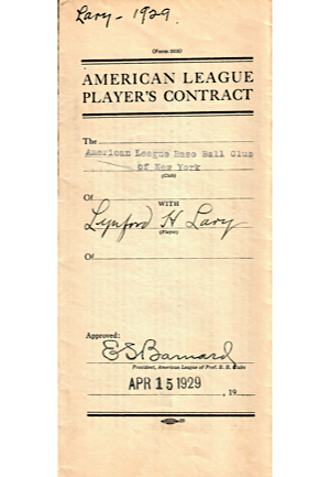 1929-30 Lyn Lary & James Reese New York Yankees Player Contracts (2)(JSA)