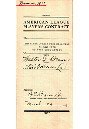 1931 Walter Brown, Edwin Wells, William Werber, & Dr. E. V. Painter Player & Trainer Contracts (4)(JSA)