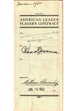 1932 Joseph Glenn & Charles Devens New York Yankees Player Contracts (2)(JSA)