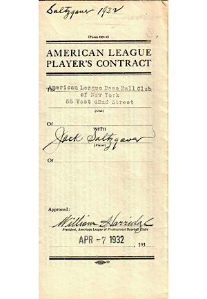 1932-33 Jack Saltzgaver, Russell Van Atta, & George Uhle New York Yankees Player Contracts (3)(JSA)