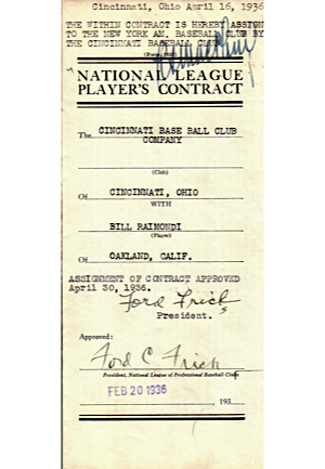 1936 Robert Seeds, Bill Raimondi, & Alvin Powell Player Contracts (JSA)