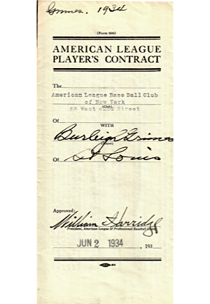 1934 Burleigh Grimes New York Yankees Player Contract (JSA)