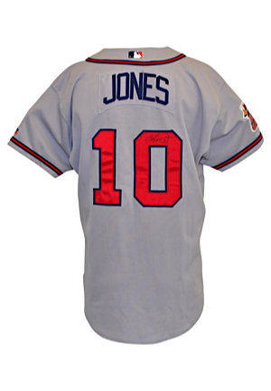 2000 Chipper Jones Atlanta Braves Game-Used & Autographed Road Jersey (Full JSA • Multiple Photo-Matches)