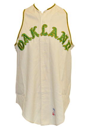 "1968 Jim ""Catfish"" Hunter Oakland As Game-Used Home Flannel Vest (Outstanding All-Original Condition • 50/50 Chance Perfect Game Jersey)"
