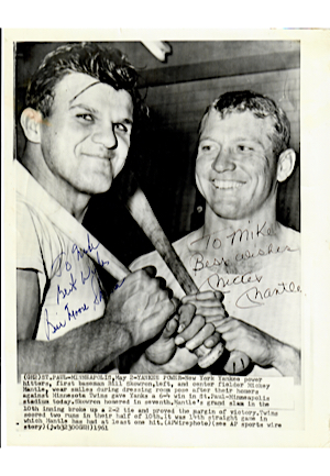 "Mickey Mantle & Bill ""Moose"" Skowron Dual-Autographed Original 8x10 Wire Photo (JSA)"
