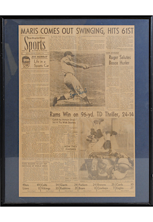 10/2/1961 Roger Maris New York Yankees Single-Signed Framed Original Newspaper Page Detailing His Historic 61st Home Run (JSA)