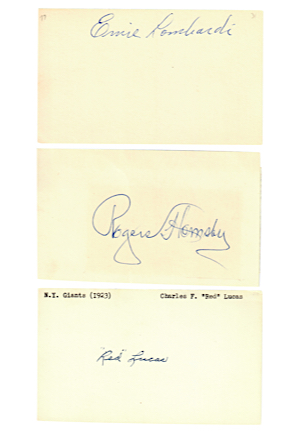 Single-Signed 3x5 Index Cards Including Rogers Hornsby, Ernie Lombardi & Many Other HOFers (19)(JSA)