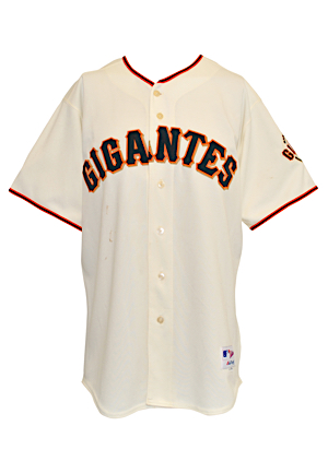 2005 Marquis Grissom San Francisco Giants Game-Used & Autographed Latino Heritage Night Home Jersey (MLB Authenticated • JSA)