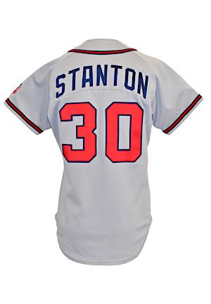 1990 Mike Stanton Atlanta Braves Game-Used Road Jersey (25th Anniversary Patch)