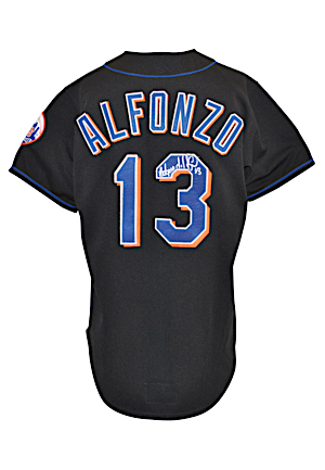 Late 1990s Edgardo Alfonzo New York Mets Game-Used & Dual Autographed Black Alternate Jersey (JSA)