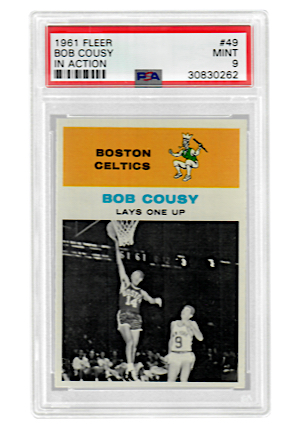"1961 Fleer Bob Cousy ""In Action"" #49 (PSA Graded MINT 9)"