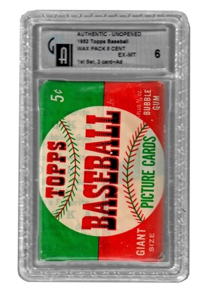 1952 Topps Baseball First Series Unopened Wax Pack (GA Graded EX-MT 6)
