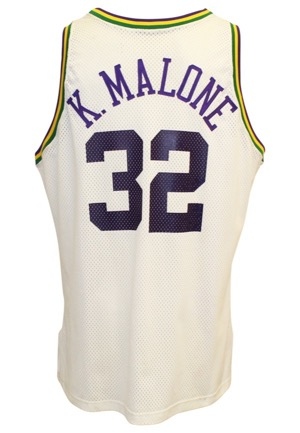 1991-92 Karl Malone Utah Jazz Game-Used & Autographed Home Jersey (JSA • Nice Wear)