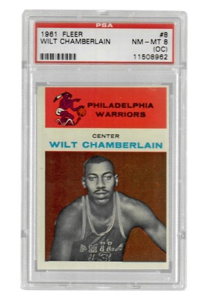 1961 Fleer Wilt Chamberlain #8 (2)(PSA Graded NM-MT 8 OC)