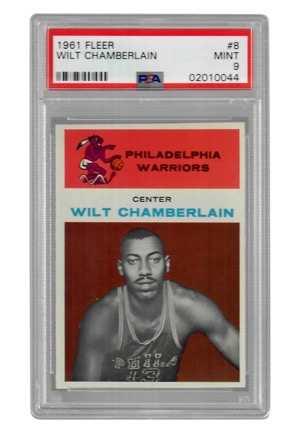 1961 Fleer Wilt Chamberlain #8 (PSA Graded Mint 9)