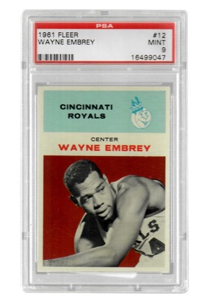 1961 Fleer Wayne Embrey #12 (PSA Graded Mint 9)