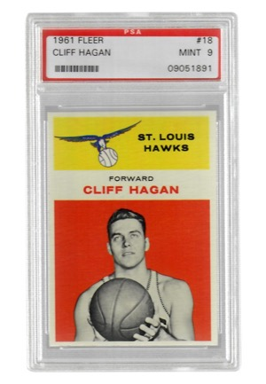 1961 Fleer Cliff Hagan #18 (PSA Graded Mint 9)