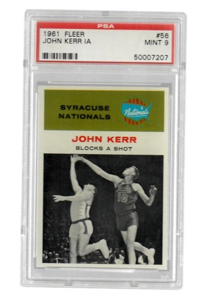 "1961 Fleer John Kerr ""In Action"" #56 (PSA Graded Mint 9)"