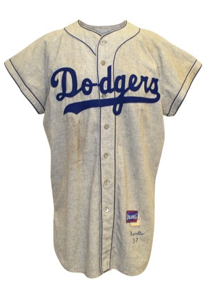 1957 Carl Furillo Brooklyn Dodgers Game-Used Road Flannel Jersey (Graded 9 • Sourced From Dodgers Personnel In 57 • Very Rare)