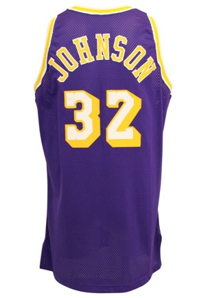 1995-96 Magic Johnson Los Angeles Lakers Game-Used & Autographed Road Jersey (JSA)