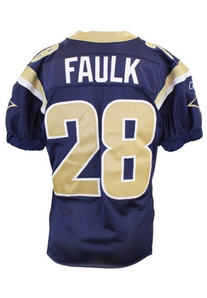 2002 Marshall Faulk St. Louis Rams Game-Used Home Jersey (Repairs)