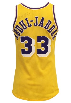 Late 1970s Kareem Abdul-Jabbar LA Lakers Game-Used & Autographed Home Jersey (Full JSA • Graded 10 With Fantastic Use • Rare Early Laker Example)