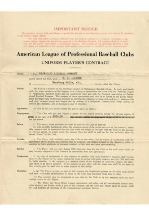 Larry Gardner Major League Baseball Players Contracts – Boston 1909, Cleveland 1921 & 1923 (3)(JSA • Family LOA)