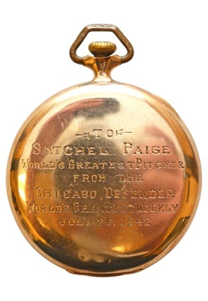Satchel Paiges Negro League Gold Pocket Watch Presented During Monarchs Vs Red Sox Game At Wrigley In 1942 (Hobby Fresh • LOA)