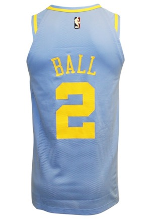 2017-18 Lonzo Ball Los Angeles Lakers Game-Used TBTC Jersey