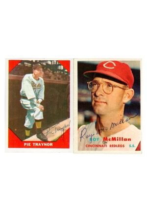 Pie Traynor & Roy McMillan Autographed Baseball Cards (2)(JSA)