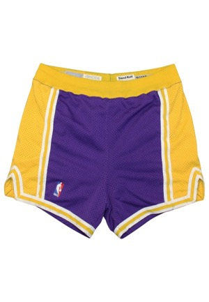 1986-87 Kareem Abdul Jabbar Los Angeles Lakers Game-Used Road Shorts
