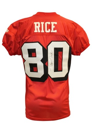 1995 Jerry Rice San Francisco 49ers Playoffs Game-Used & Autographed Throwback Home Jersey (Full JSA • Photo-Matched To 1/15/95 NFC Championship Game • Championship Season)