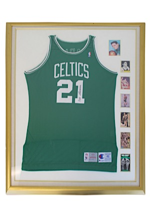 Bill Sharman Boston Celtics Autographed Road Jersey Display Piece (JSA • Sharman LOA)