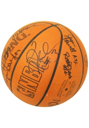 2003 Los Angeles Clippers Game-Used & Team-Signed Chicago Bulls Basketball (JSA)