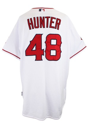2009 Torii Hunter Los Angeles Angels Game-Used Home Playoff Jersey (Photo-Matched To ACLS • Graded 10 • Adenhart & Preston Patches)