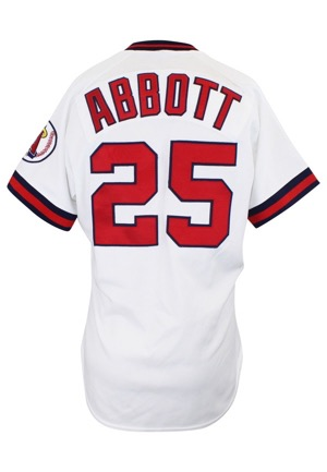 1989 Jim Abbott California Angels Game-Used Rookie Home Jersey