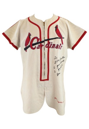 1949 Joe Garagiola St. Louis Cardinals Game-Used & Autographed Home Flannel Jersey (JSA)