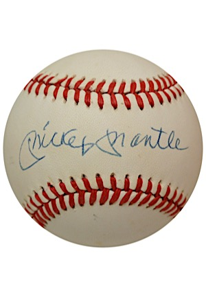 Mickey Mantle Single-Signed OAL Baseball (JSA)