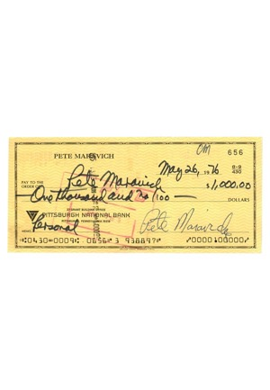 Pete Maravich Dual-Autographed Personal Bank Check (PSA/DNA Graded 9)