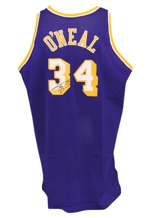 1996-97 Shaquille ONeal Los Angeles Lakers Game-Used & Autographed Road Jersey (JSA • Sourced From ONeal • Mine-O-Mine LOP)