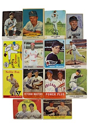 MLB Hall Of Famers & Stars Autographed Baseball Cards Including Nellie Fox, Lefty Grove, Dean, Koufax, Banks, Brock, Snider & More (14)(JSA)