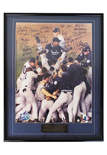 1998 New York Yankees Team-Signed World Series Celebration Framed LE Photo (JSA • Championship Season • 43/98)