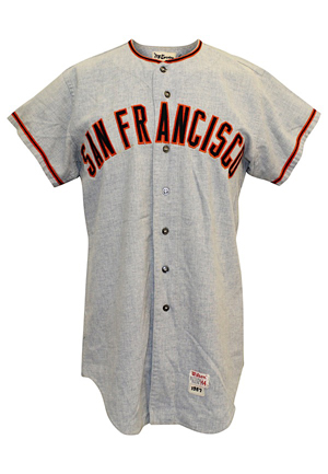 1967 Willie McCovey San Francisco Giants Game-Used Road Flannel Jersey (Graded 9+ • Fantastic All-Original Condition W/ Outstanding Use)