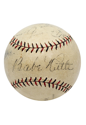 "1927 Babe Ruth & Lou Gehrig ""Bustin' Babes And Larrupin' Lou's"" Game-Used & Dual-Signed Barnstorming Baseball (Full JSA & PSA/DNA LOAs • Exceedingly Rare ""Louis"" Gehrig Auto • Only Known Example)"
