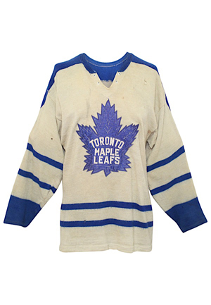 1962-63 Carl Brewer Toronto Maple Leafs Game-Used Wool Jersey (Rare • Graded 8)