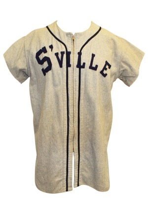 Early 1950s Sville Game-Used Road Flannel Jersey #15