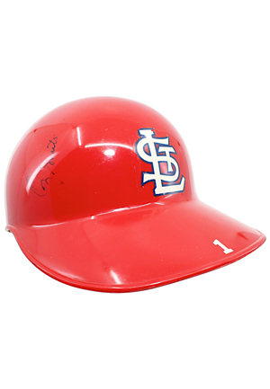 Early 1990s Ozzie Smith St. Louis Cardinals Game-Used & Autographed Helmet & Batting Glove (2)(JSA)