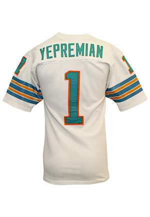 "1972 Garo Yepremian Miami Dolphins Super Bowl VII Game-Used ""Garos Gaffe"" Jersey (Photo-Matched • Championship & Perfect Record Season)"