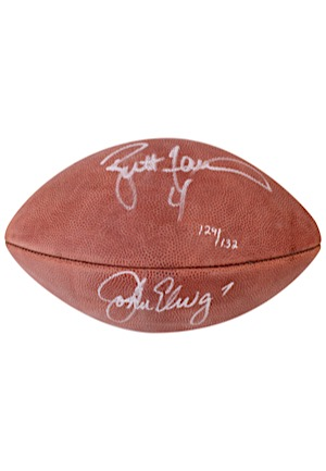 "John Elway & Brett Favre Dual-Signed Wilson Official ""Super Bowl XXXII"" LE Football (JSA • 129/132)"
