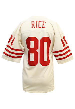 Late 1980s Jerry Rice San Francisco 49ers Game-Used Road Jersey (Rare Early Career Example W. Documented Side Gussets)